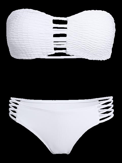 shop Cut Out Tube Bikini Swimwear - WHITE L Mobile