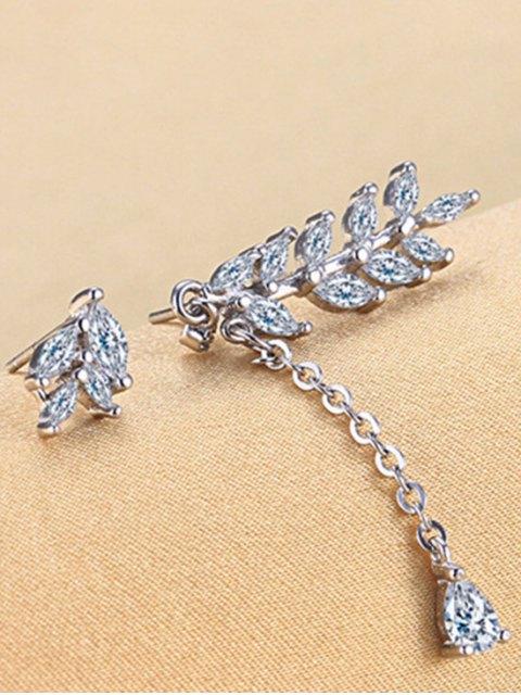 hot Asymmetric Rhinestone Leaf Earrings -   Mobile