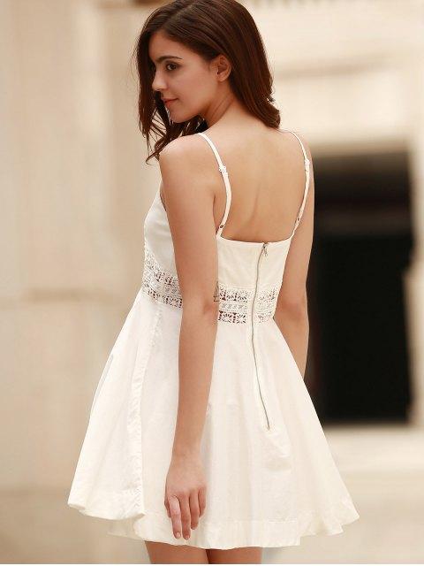 shop Zippered Hollow Out Spaghetti Straps Sleeveless Dress - WHITE S Mobile
