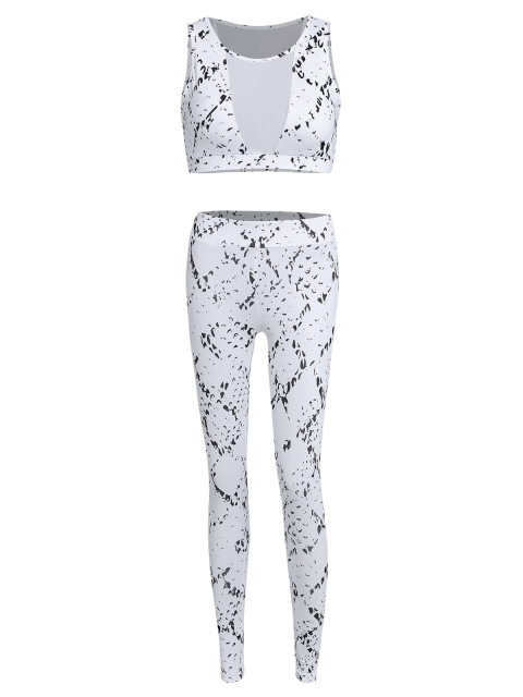 lady High Waist Mesh Spliced Skinny Sport Suit - WHITE S Mobile