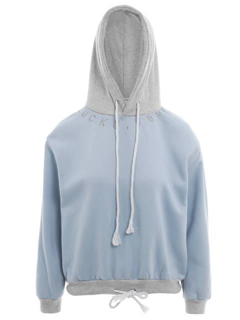 sale Bicolor Drawstring Pullover Hoodie - LIGHT BLUE ONE SIZE Mobile