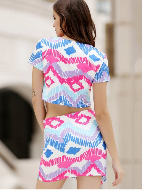 shops Argyle Print Short Sleeve Crop Top and Mini Skirt Suit - COLORMIX S Mobile