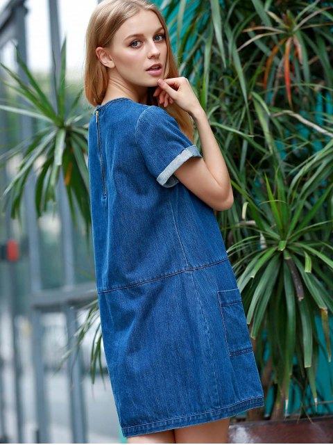 shop Hemming Double Pockets Round Neck Short Sleeve Denim Dress - BLUE L Mobile