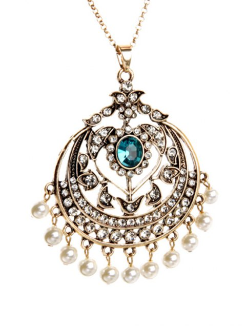 chic Retro Round Hollow Out Pendant Necklace - GOLDEN  Mobile