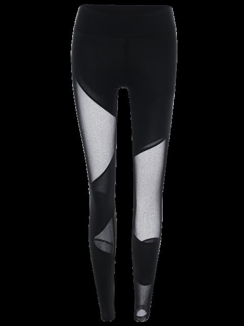 hot Mesh Insert Gym Sports Leggings - BLACK S Mobile