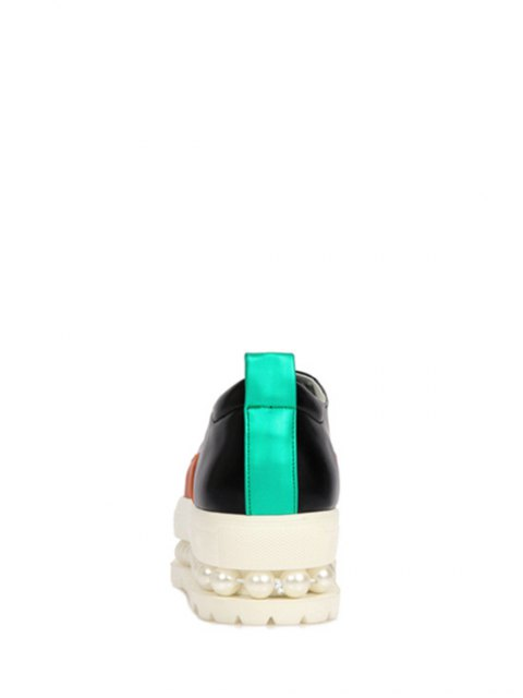 best Faux Pearl Color Block Platform Shoes - BLACK 39 Mobile