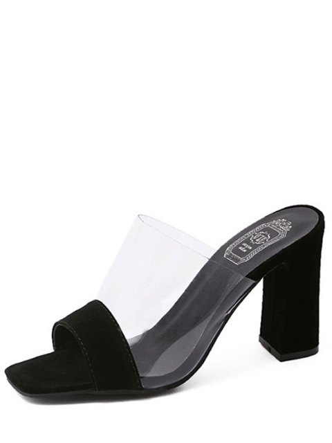 new Transparent Splicing Chunky Heel Slippers - BLACK 40 Mobile