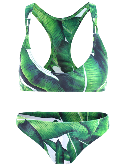 outfit Racerback Design Leaf Pattern Bikini - GREEN M Mobile