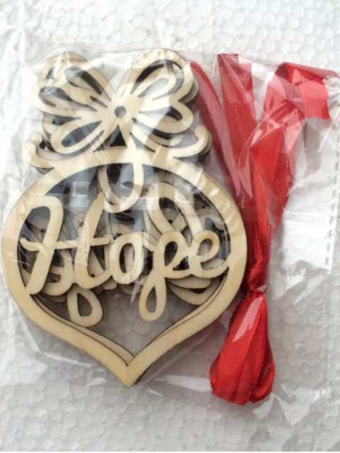 new 6PCS Hollow Out Wooden Hangers Christmas Decoration - WOOD  Mobile
