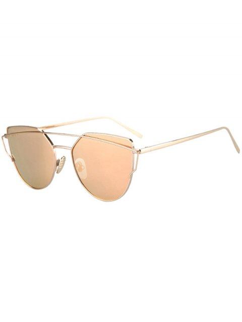 shop Metal Bar Golden Frame Pilot Sunglasses - GOLDEN  Mobile
