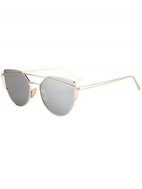 outfits Metal Bar Golden Frame Pilot Sunglasses - SILVER  Mobile