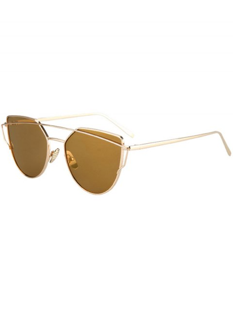 hot Metal Bar Golden Frame Pilot Sunglasses - BROWN  Mobile