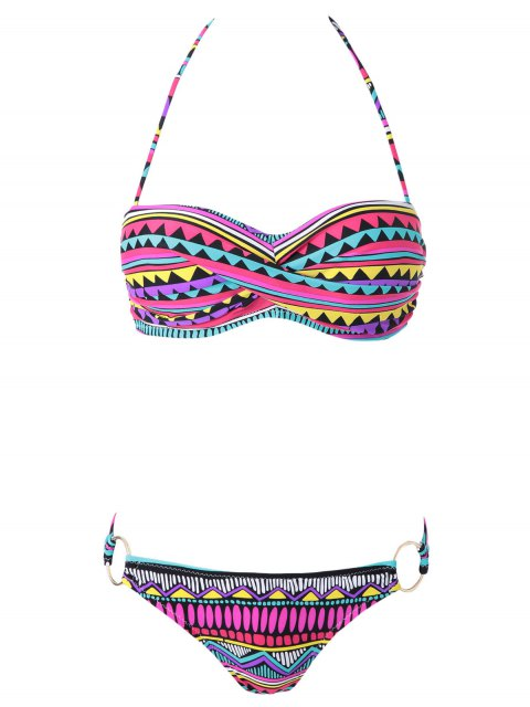 best Geometric Print Color Block Bikini Set - COLORMIX S Mobile