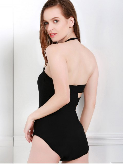 women's Bandeau Bandage One-Piece Swimwear - BLACK M Mobile