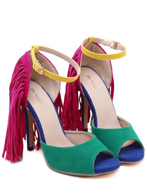 affordable Color Block Peep Toe Fringe Sandals - GREEN 35 Mobile
