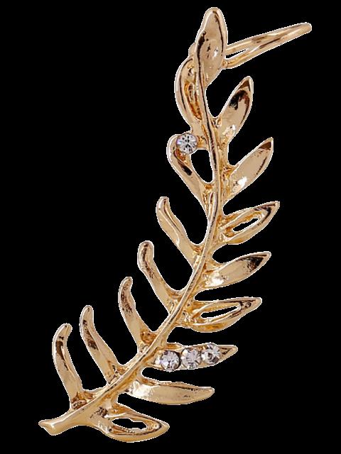 womens Rhinestones Leaf Clip Earring - GOLDEN  Mobile