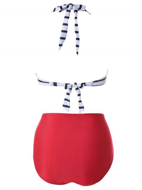 chic Halter Stripe Twist Vintage Bandage Bikini Set - RED WITH WHITE L Mobile