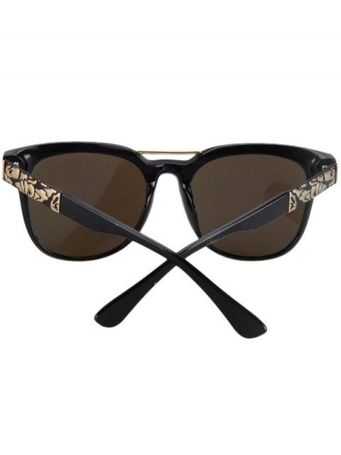 ladies Flower Shape Bulge Black Frame Sunglasses - DEEP BLUE  Mobile