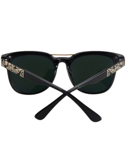 womens Flower Shape Bulge Black Frame Sunglasses - YELLOW  Mobile