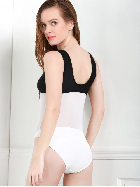 shop Color Block Hollow One-Piece Swimwear - WHITE AND BLACK S Mobile