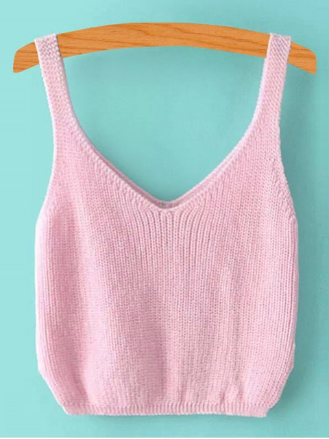 shops Ribbed Sleeveless Knitted Tank Top - PINK ONE SIZE(FIT SIZE XS TO M) Mobile