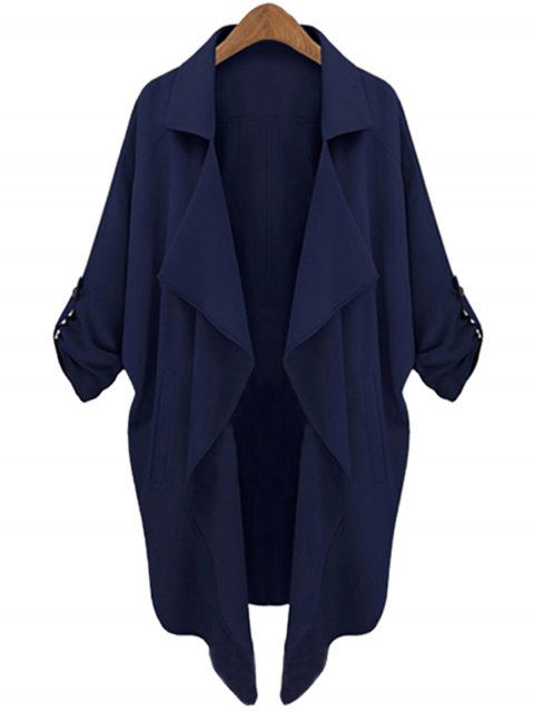 latest Long Sleeve Solid Color Trench Coat - CADETBLUE XL Mobile