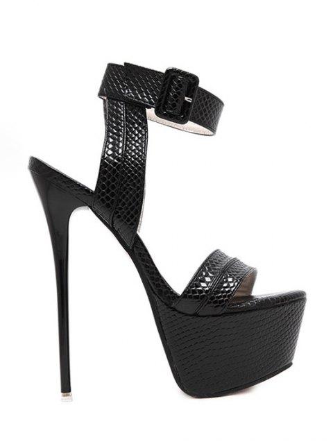 trendy Snake Print Platform Ankle Strap Sandals - BLACK 35 Mobile