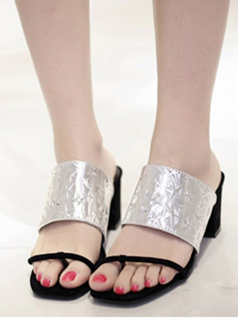 fancy Color Block Chunky Heel Star Slippers - SILVER 38 Mobile
