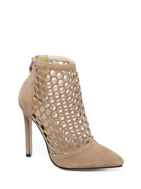 outfits Openwork Pointed Toe Stiletto Heel Pumps - APRICOT 40 Mobile