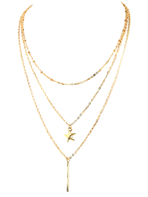 women Starfish Layered Pendant Necklace - GOLDEN  Mobile