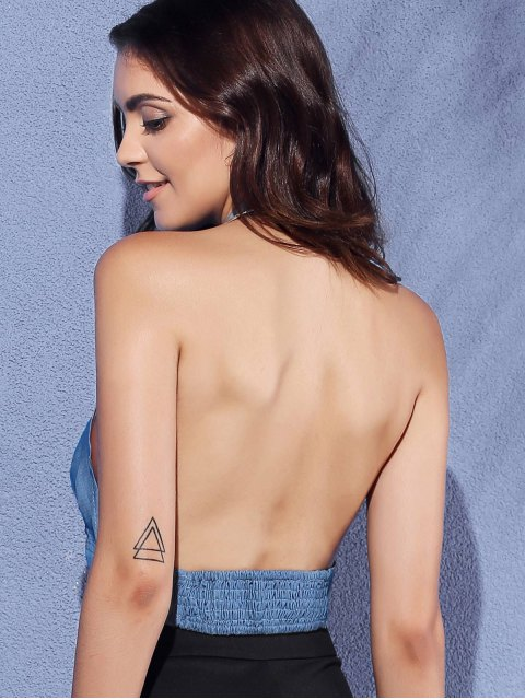 hot Backless Cut Out Halter Sleeveless Crop Top - BLUE L Mobile