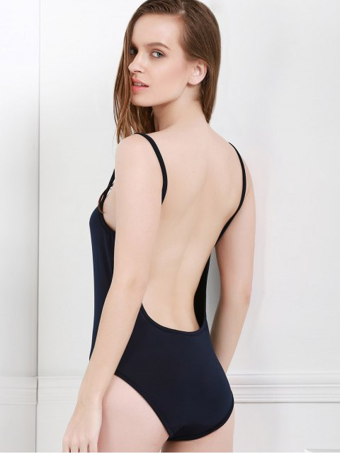 online Spaghetti Strap Backless One-Piece Swimwear - BLACK L Mobile