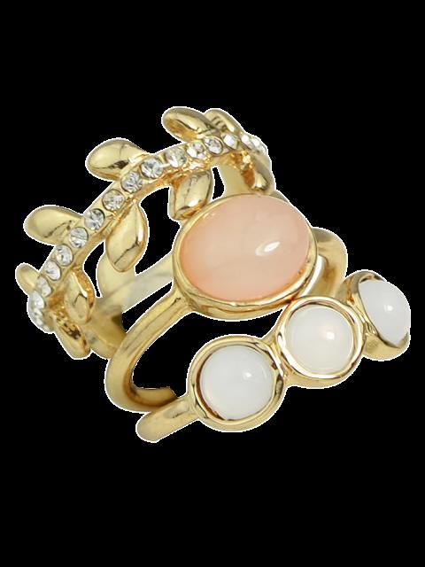 women Faux Opal Rhinestone Water Drop Rings - GOLDEN ONE-SIZE Mobile