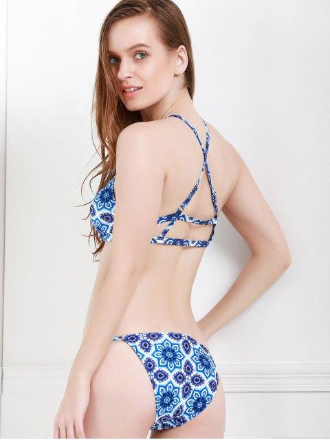 outfits Spaghetti Strap Blue Floral Print Bikini Set - PURPLISH BLUE M Mobile