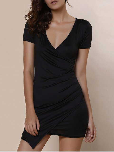 chic Plunging Collar Asymmetrical Bodycon Dress - BLACK XL Mobile