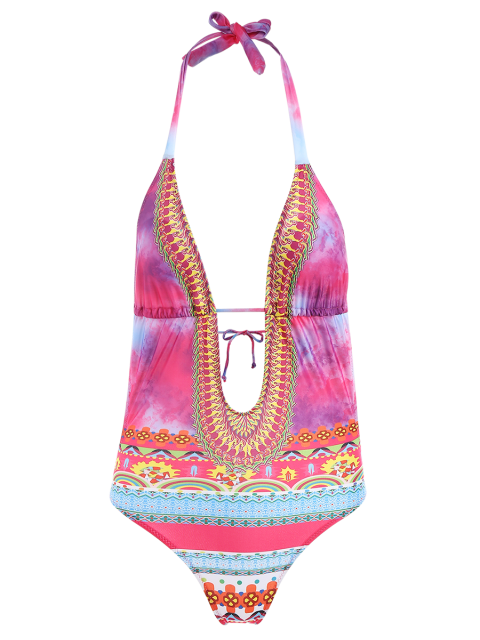 women's Plunging Neck Printed Lace-Up One-Piece Swimwear - COLORMIX S Mobile
