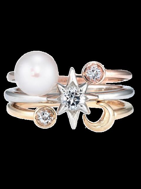 buy Rhinestone Moon Star Rings - COLORMIX  Mobile