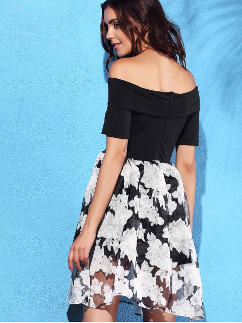 fashion Off-The-Shoulder Summer Dress - BLACK M Mobile