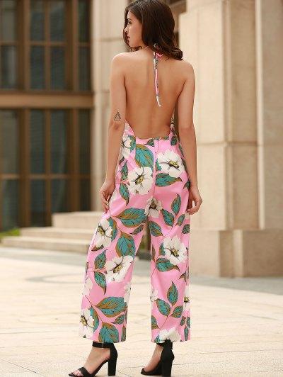 Floral Print Halter Backless Jumpsuit - PINK XL Mobile