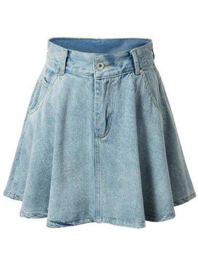 High-Waisted A-Line Denim Skirt - Light Blue M