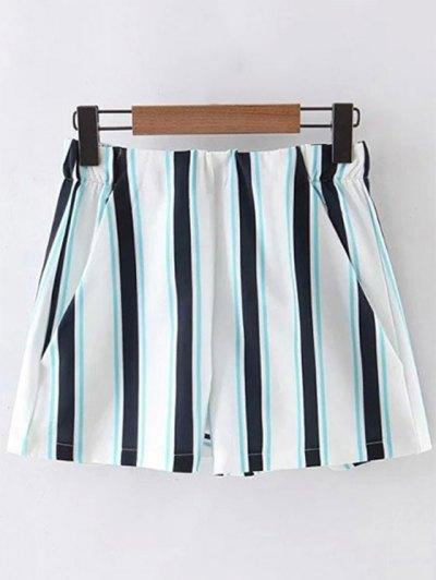 Rayas Pantalones Cortos De Cintura Alta - Azul