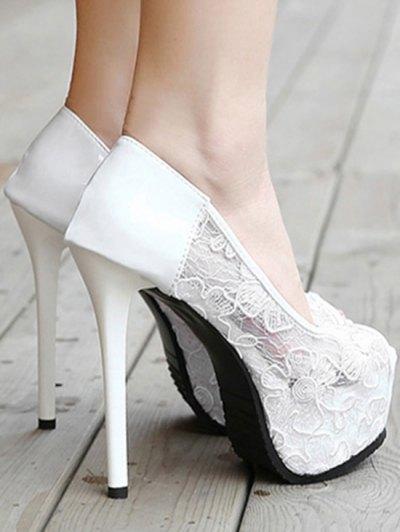 Lace Platform Stiletto Heel Peep Toe Shoes - WHITE 34 Mobile