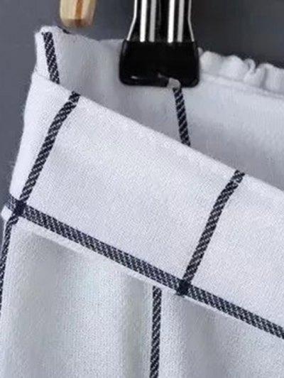 Belted Gridding A Line Skirt - WHITE M Mobile