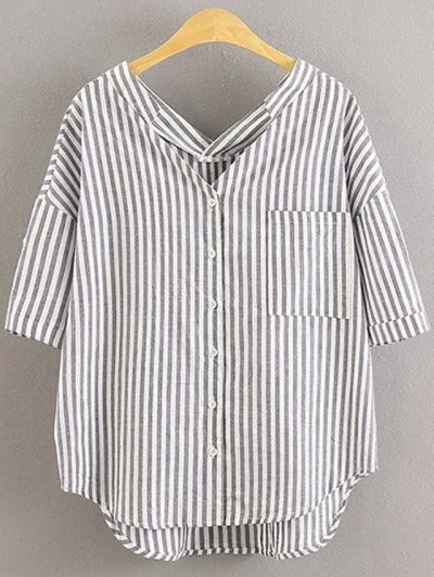 Preppy Style Striped Dropped Sleeve Shirt - Gray