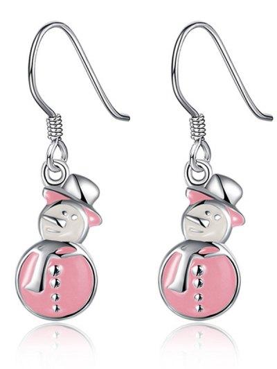 Enamel Snowman Christmas Drop Earrings - PINK  Mobile