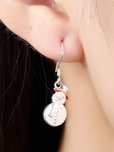 Enamel Snowman Christmas Drop Earrings - WHITE  Mobile