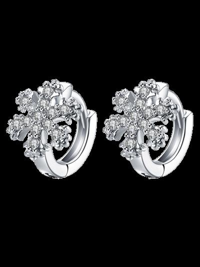 Rhinestoned Christmas Snowflake Hoop Earrings - Silver