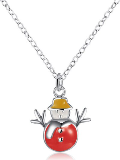 Enamel Snowman Christmas Necklace - RED  Mobile