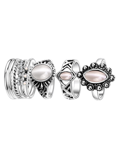 Faux Opal Oval Ring Set - SILVER 7 Mobile