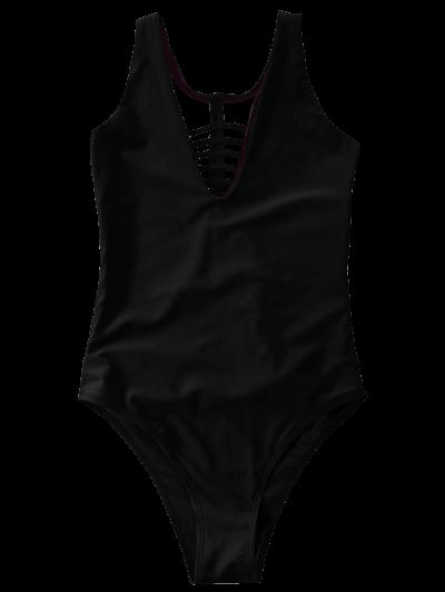 Strappy One-Piece Swimwear - BLACK L Mobile
